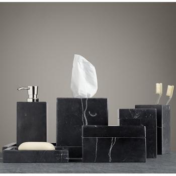Accesorios de ba o 7 piezas m rmol negro oniko stone for Accesorios bano negro