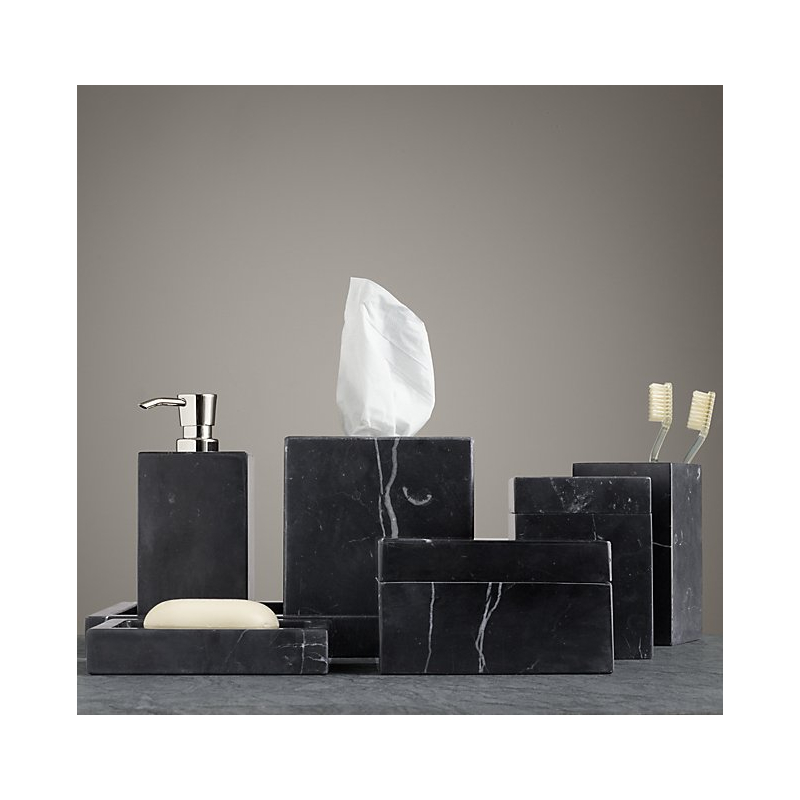 Bathroom Accessories In Natural Stone Marble Black