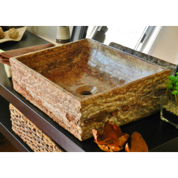 NATURAL STONE SINK  TRAVERTINE RED 42 x 35 cm OMTRR42